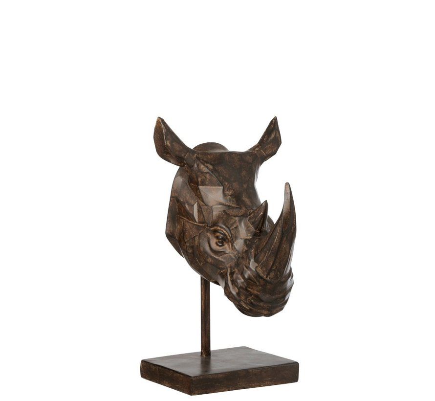 Decoration Figure Rhino head On Tripod - Brown