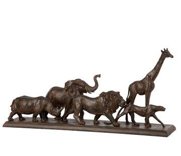 J-Line  Decoration Figure Safari Animals On Base Poly Brown - Large