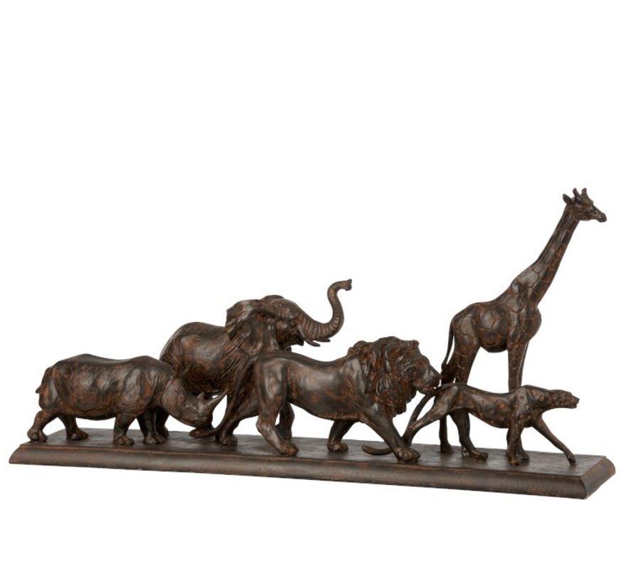 Decoratie Figuur Safari Dieren Op Voet Poly Bruin - Large