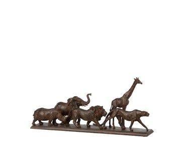 J -Line Decoratie Figuur Safari Dieren Op Voet Poly Bruin - Small