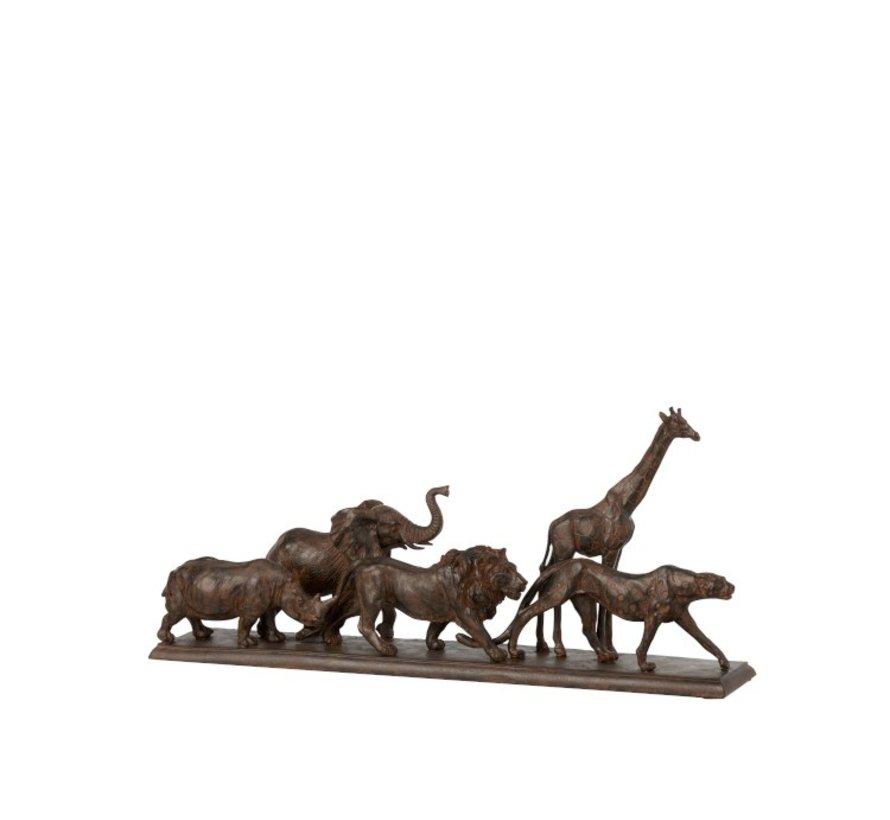 Decoration Figure Safari Animals On Foot Poly Brown - Small