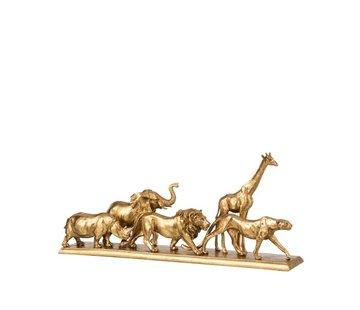 J-Line  Decoration Figure Safari Animals On Foot Gold - Small