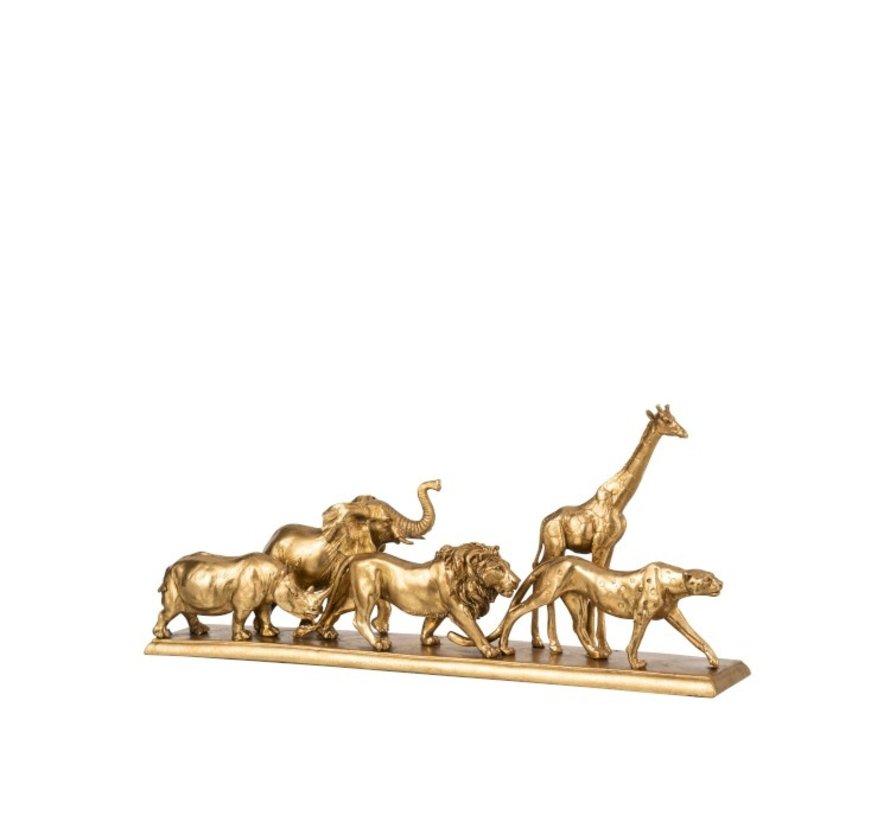Decoration Figure Safari Animals On Foot Gold - Small