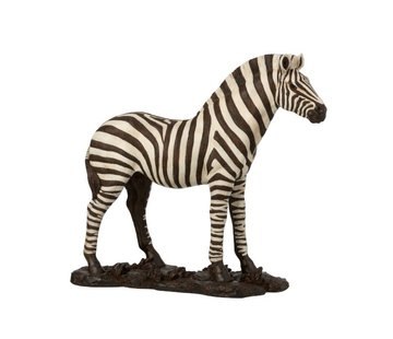 J -Line Decoratie Figuur Zebra Op Voet Wit Zwart - Large