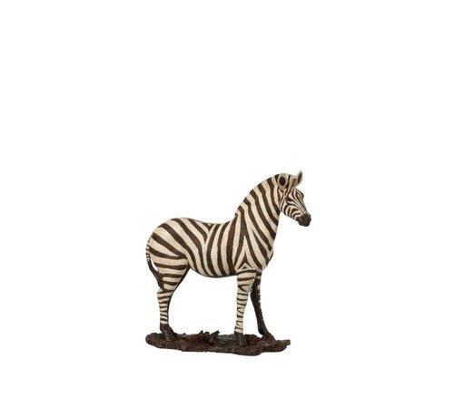 J-Line  Decoratie Figuur Zebra Op Voet Wit Zwart - Small