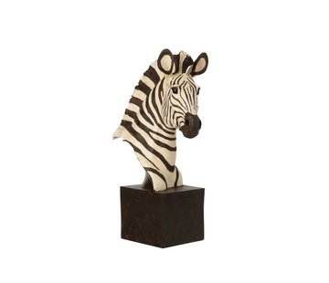J-Line  Decoratie Figuur Zebra Op Statief Wit - Zwart