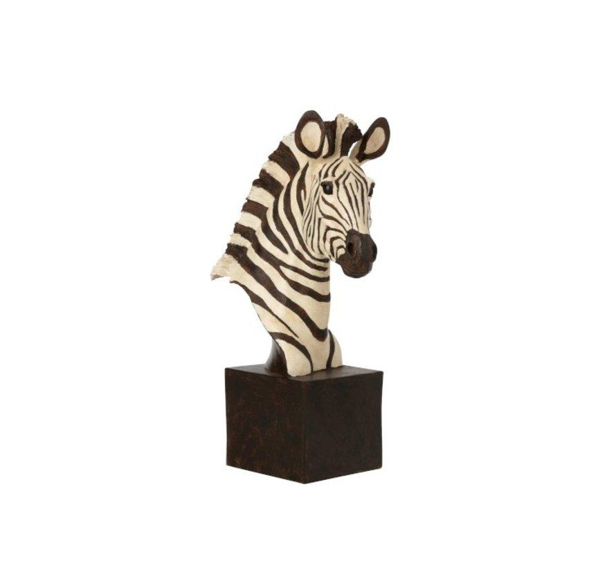 Decoratie Figuur Zebra Op Statief Wit - Zwart