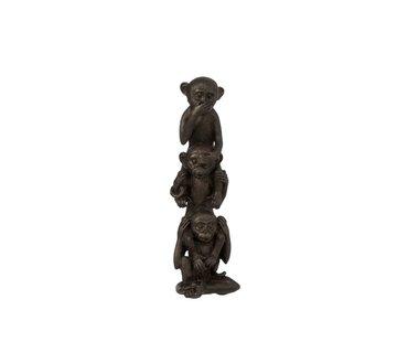 J-Line Decoration Figure Monkeys Totem Hear See Silence - Brown