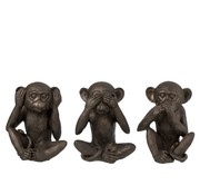 J-Line  Decoration Figure Three Monkeys Hear See Silence - Brown