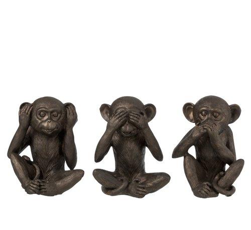 J -Line Decoration Figure Three Monkeys Hear See Silence - Brown