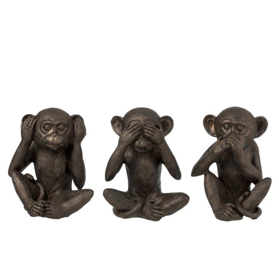 Decoration Figure Three Monkeys Hear See Silence - Brown