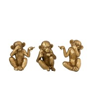 J -Line Decoration Figure Monkeys Hear See Silence Gold - Small