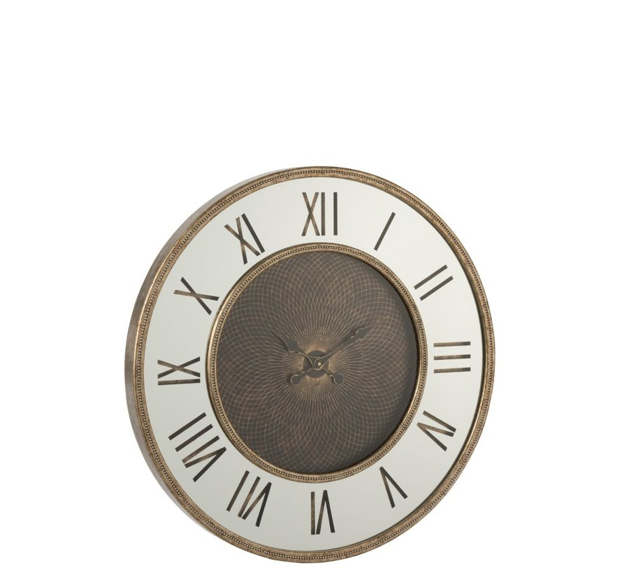 Wall Clock Round Roman Numerals Antique Gold - Large