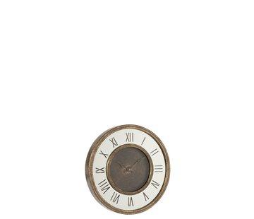 J-Line Wall Clock Round Roman Numerals Antique Gold - Small