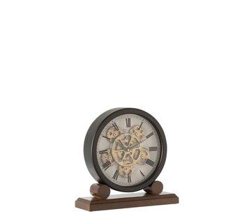 J-Line Table Clock On Foot Radar Work Antique Gold Black - Brown