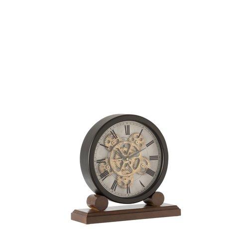 J -Line Table Clock On Foot Radar Work Antique Gold Black - Brown