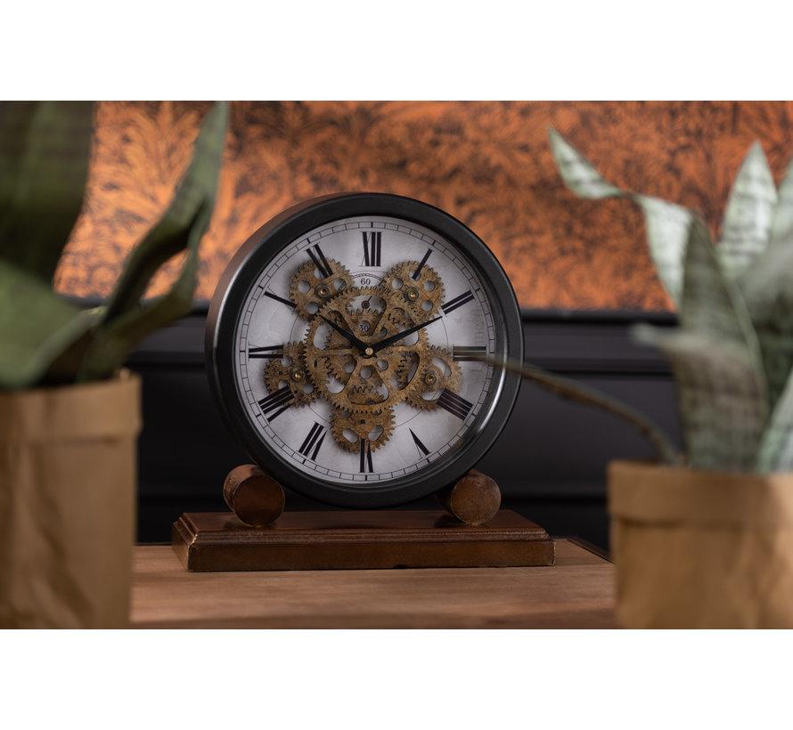 Table Clock On Foot Radar Work Antique Gold Black - Brown