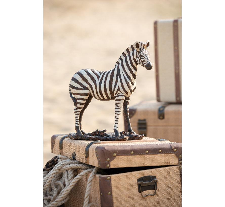 Decoratie Figuur Zebra Op Voet Wit Zwart - Large