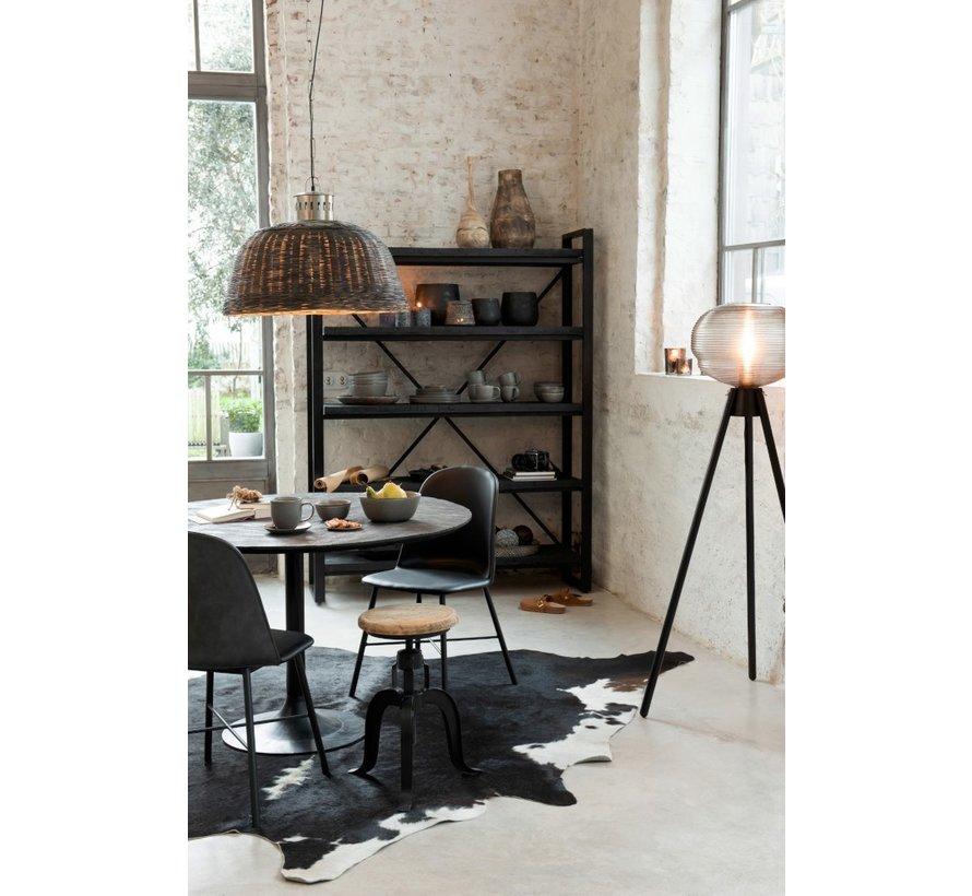 Carpet Cowhide Leather Simili White - Black