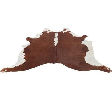 J -Line Carpet Cowhide Leather Simili White - Brown