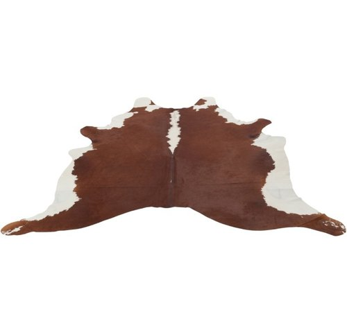 J -Line Carpet Cowhide Leather Simili White - Brown