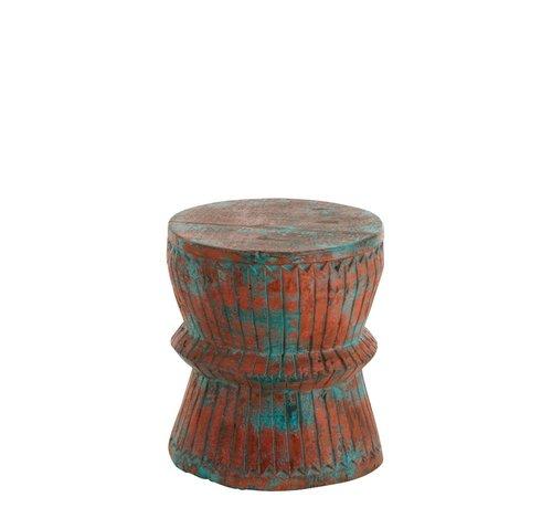 J -Line Wooden Stool Oriental Mango Wood Azure - Orange
