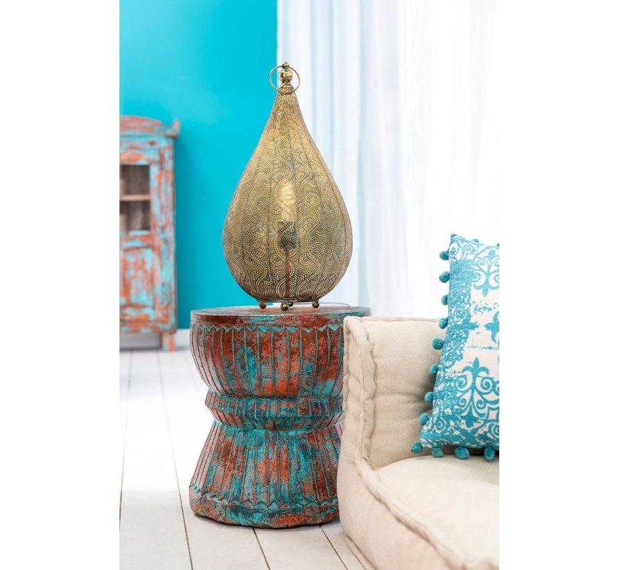 Wooden Stool Oriental Mango Wood Azure - Orange