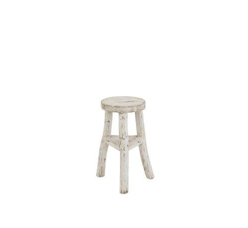 J-Line Side stool Ibiza Style Round Wood - White Wash