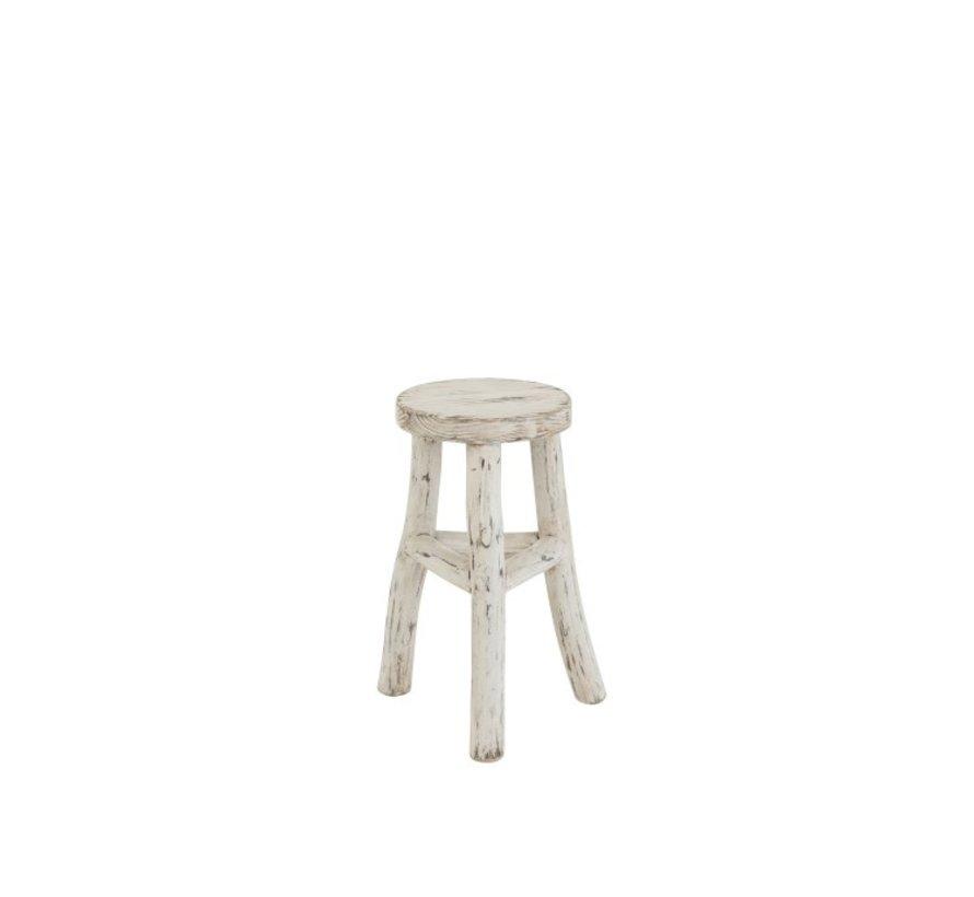 Side stool Ibiza Style Round Wood - White Wash