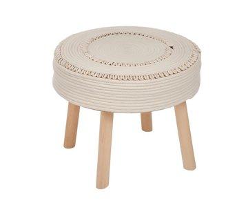 J -Line Side Stool Round Crocheted Shells - Ivory