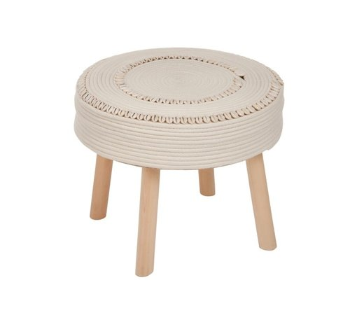 J-Line Side Stool Round Crocheted Shells - Ivory