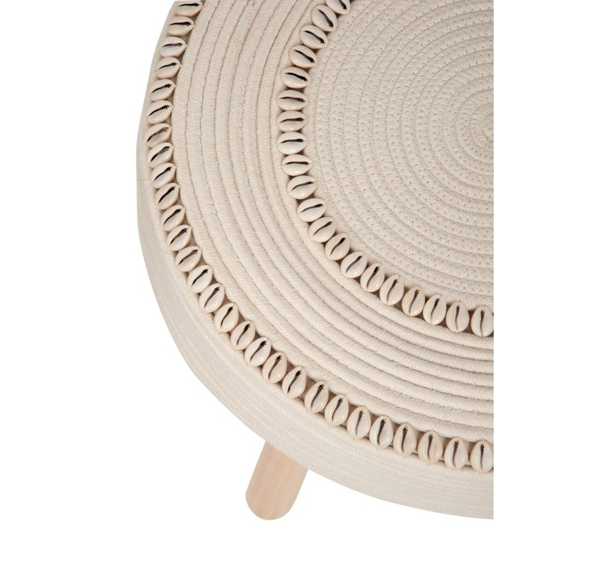 Side Stool Round Crocheted Shells - Ivory