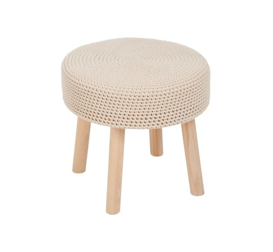 Side Stool Wood Round Crocheted Cotton - Beige