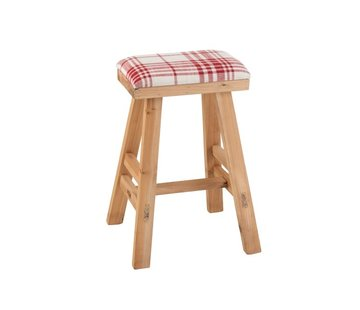J-Line Stool Rectangle High Wood Textile Red - White