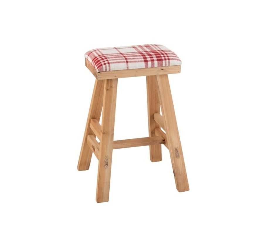 Stool Rectangle High Wood Textile Red - White