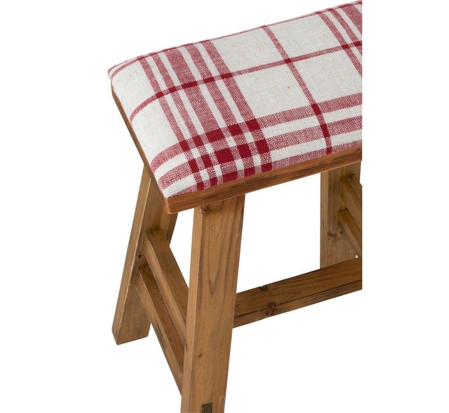 Zit Kruk Rechthoek Hoog Hout Textiel Rood - Wit