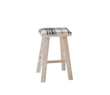 J -Line Zit Kruk Rechthoek Hoog Hout Textiel Zwart - Wit