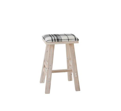 J -Line Sitting Stool Rectangle High Wood Textile Black - White