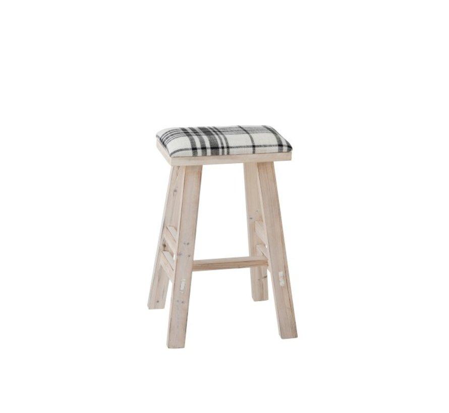 Sitting Stool Rectangle High Wood Textile Black - White