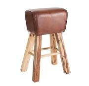 J -Line Gym Stool Rectangle Leather Mango Wood - Brown