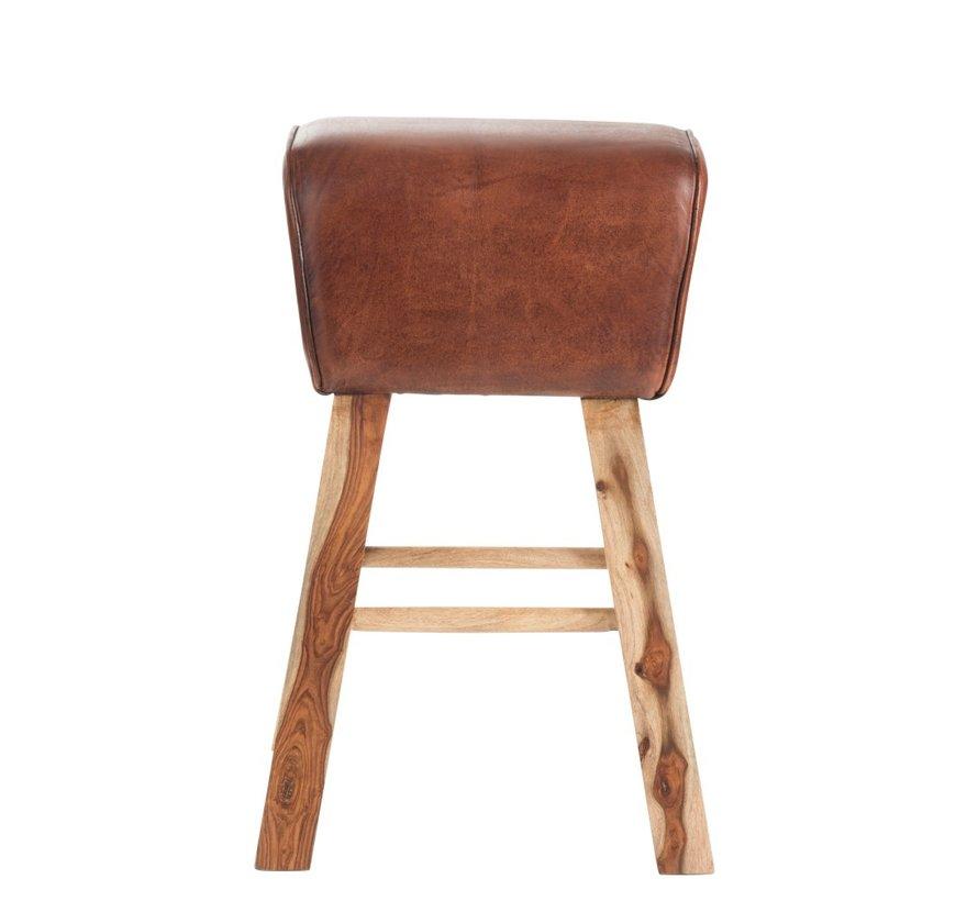 Gym Stool Rectangle Leather Mango Wood - Brown