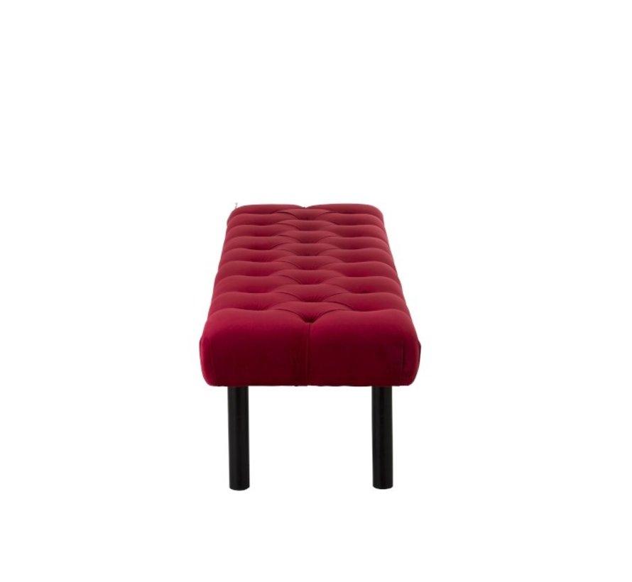 Footstool Long Luxurious Velvet Red - Black