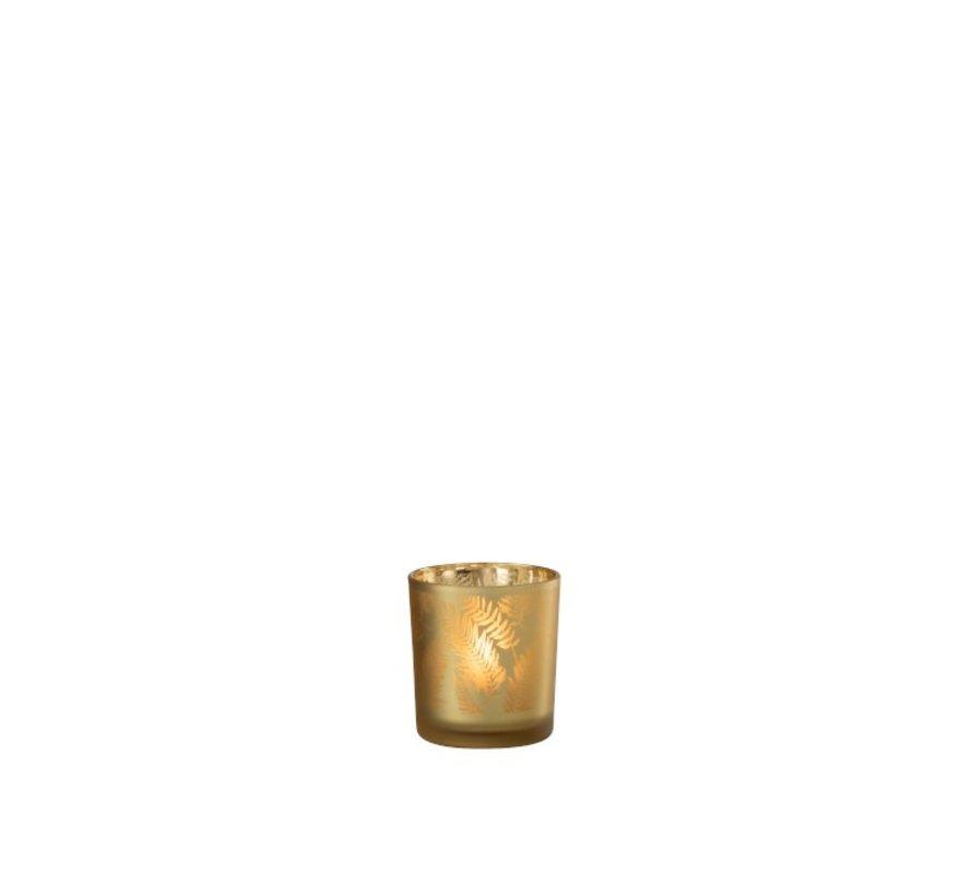 Theelichthouder Glas Bladeren Goud - Small