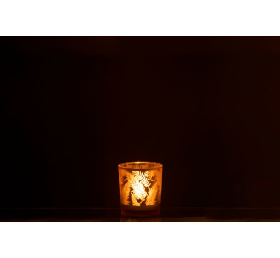 Tealight holder Glass Leaves Gold - Small