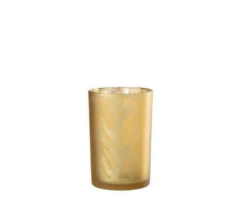 J -Line Theelichthouder Glas Bladeren Goud - Large
