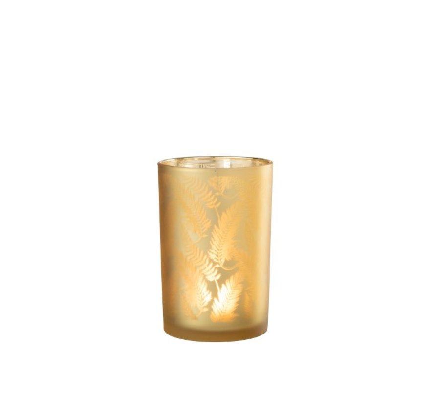Theelichthouder Glas Bladeren Goud - Large