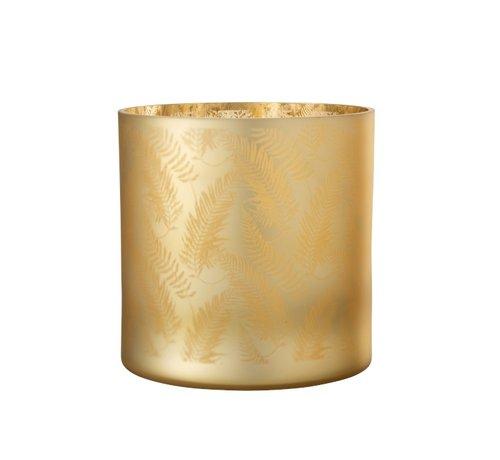J -Line Theelichthouder Glas Bladeren Goud - Extra Large