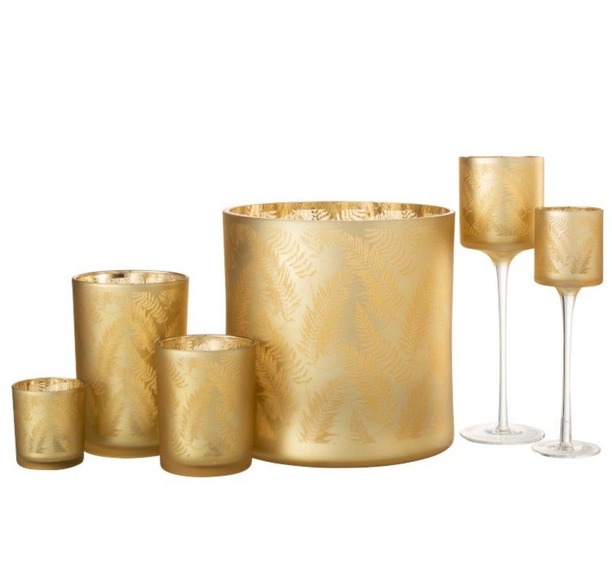Theelichthouder Glas Bladeren Goud - Extra Large