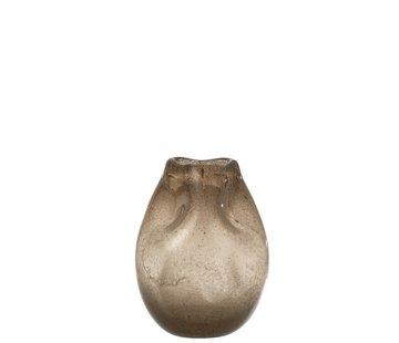 J -Line Vaas Glas Modern Natuurlijk Bruin - Medium