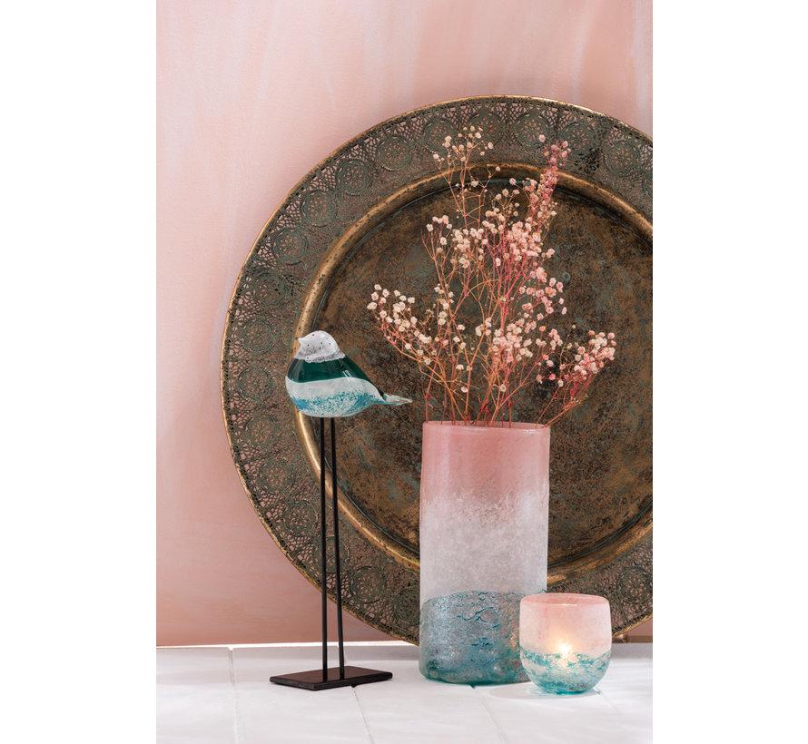 Vase Glass Cylinder Floral Pink Azure - Large